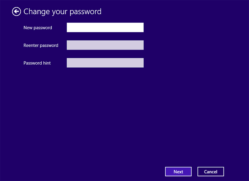 enter a new password for Windows 8