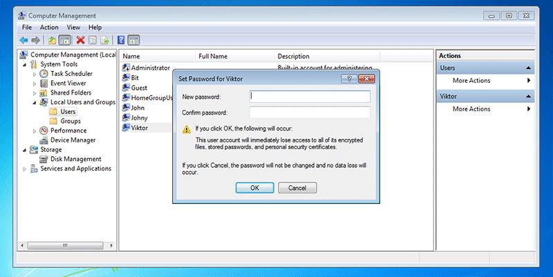 Neues Passwort für gesperrten Laptop eingeben