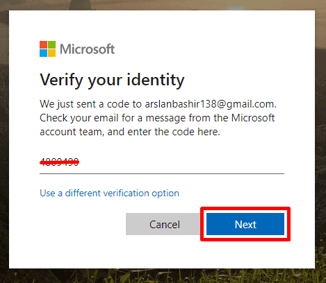Paste or Enter the verification code and click on the Next button