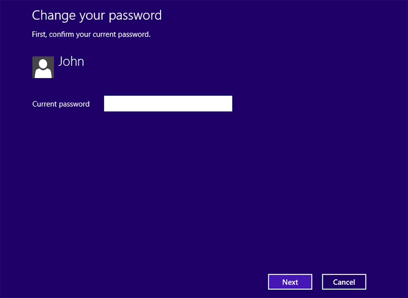 Enter the current password of Windows 8