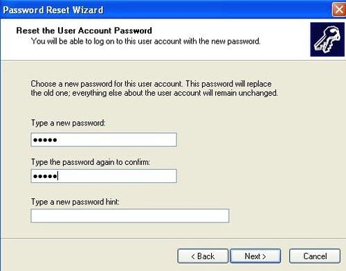 reset password by typing new password and click next