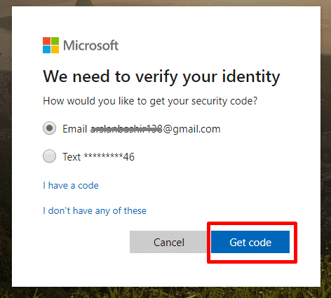 Get code to verify Microsoft account identity