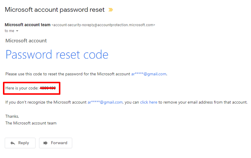 Get the code for Microsoft password reset