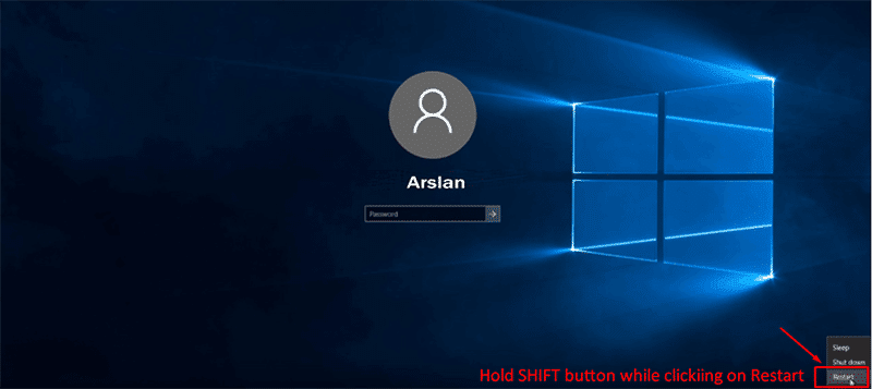 Hold down shift key and click restart at the same time for resetting Asus laptop password