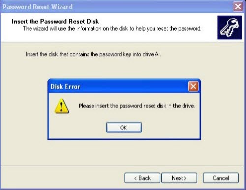 Insert the disk and click on the Next button on Windows XP