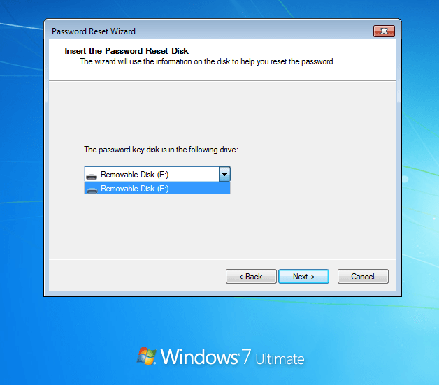 Insert Windows 7 password reset wizard
