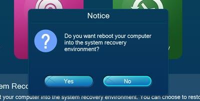 Lenovo Onekey recovery 8.0 reboot to recovery environment