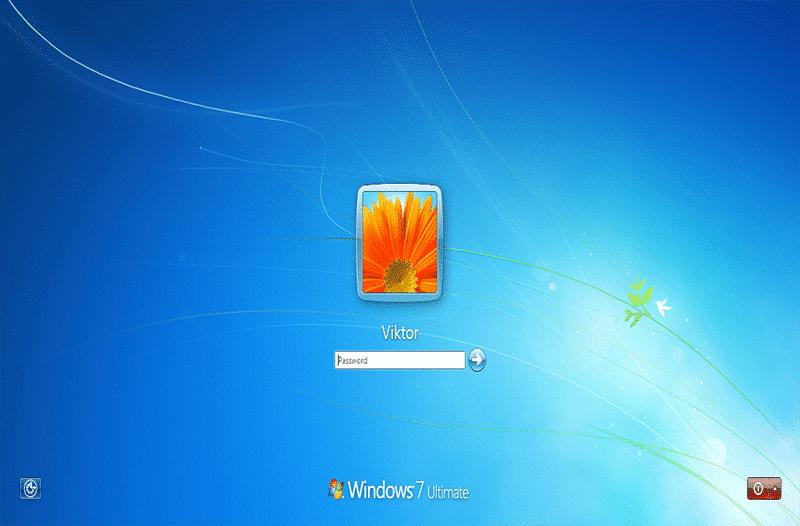Anmeldebildschirm am Laptop