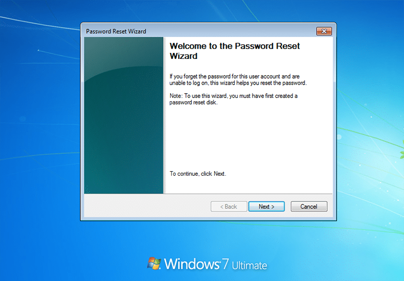 password reset wizard in laptop