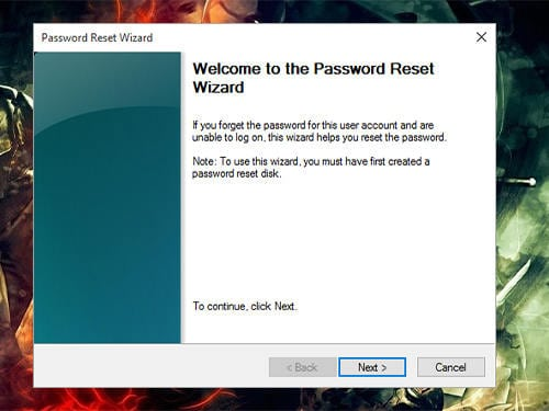 Press next to continue Asus laptop password reset wizard