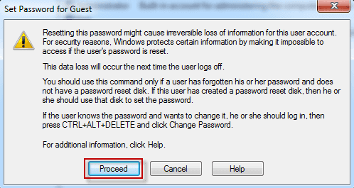 proceed to set password for user