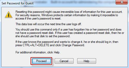 confirmez le nouveau mot de passe pour l'utilisateur