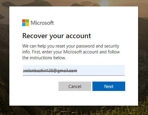 Enter Microsoft account email and confirm