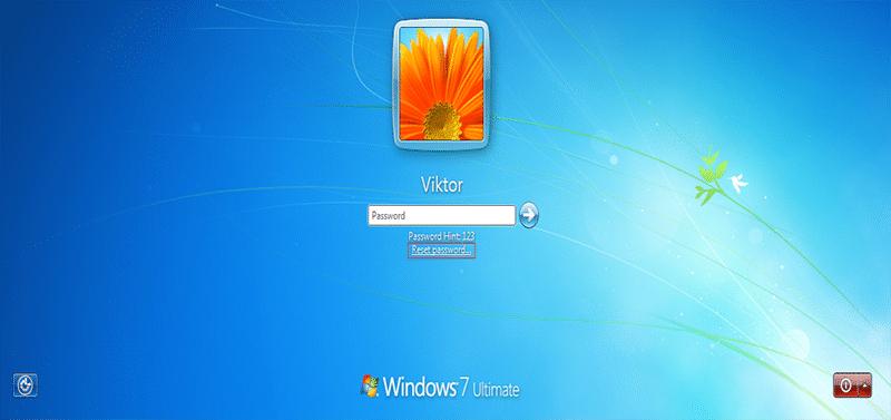 lien de réinitialisation de mot de passe sur Windows 7