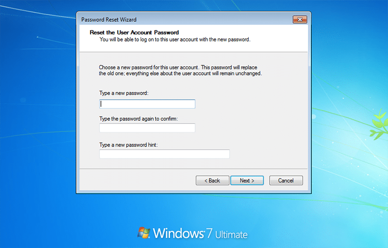 reset the user account password in laptop