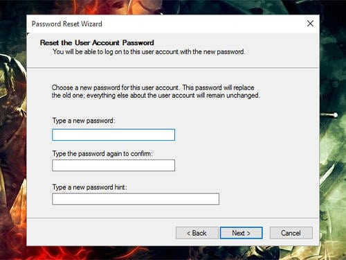 Reset the user account password in Toshiba laptop