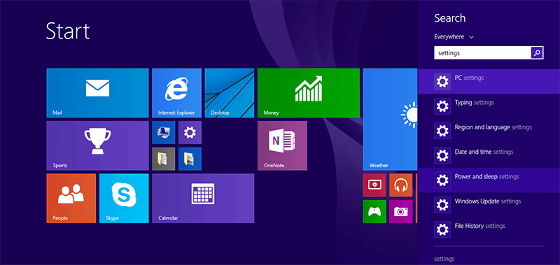 Search for Settings and hit enter in Windows 8