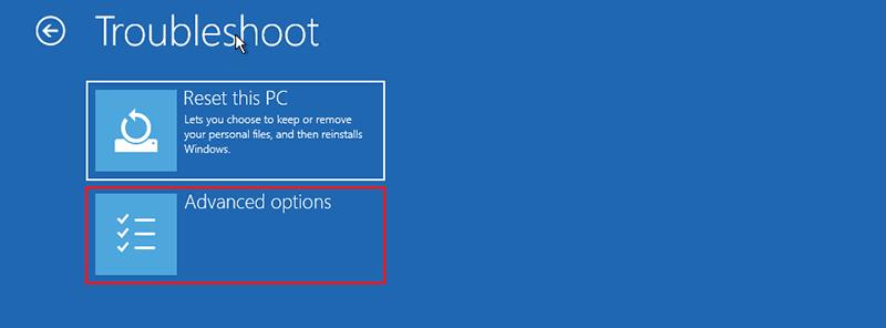 Sélectionnez Options avancées sur Windows 10