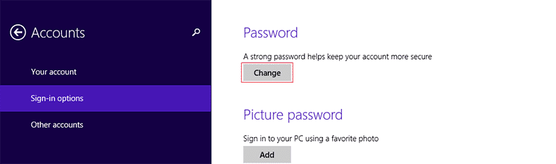 Select change for Password in Windows 8
