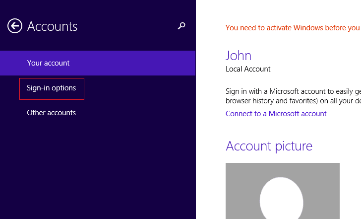 select Sign-in options in Account