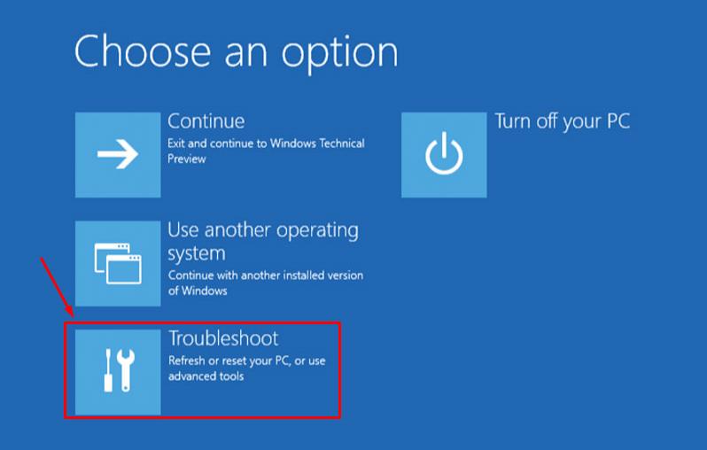 Wählen Sie die Fehlerbehebungsfunktion, um den Laptop kalt zurückzusetzen