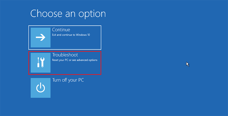 Select Troubleshoot in Windows 10
