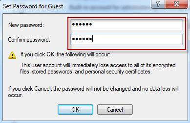 Définissez un nouveau mot de passe pour l'utilisateur
