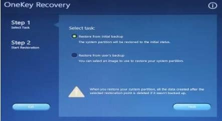 System Recovery Features to factory reset Lenovo laptop