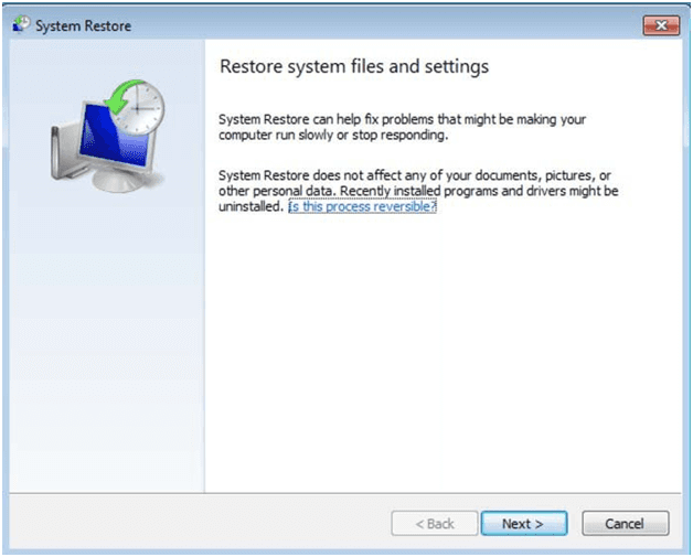 system restore in Windows 7