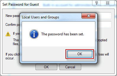 The Windows 7 password has been set