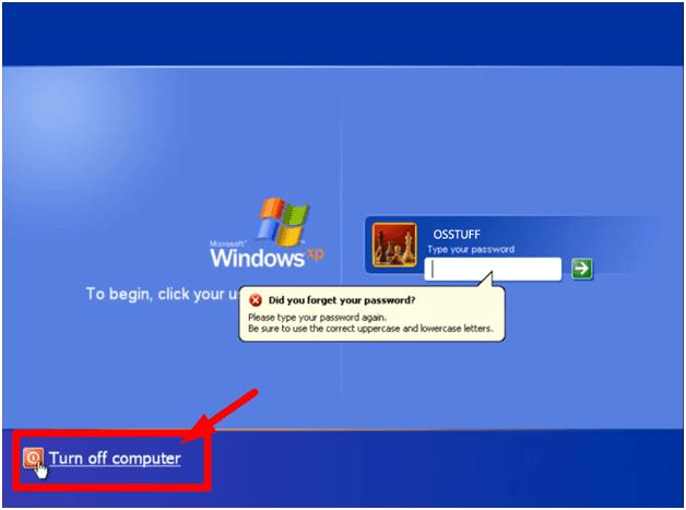Schalten Sie den Computer in Windows XP aus