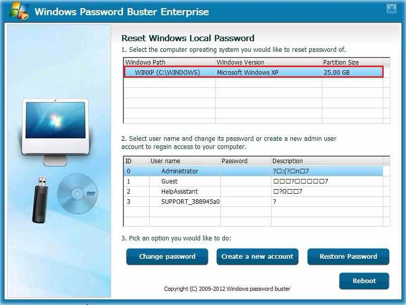 Windows Password Buster Passwortrücksetzung