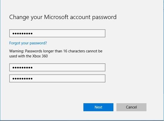Ändern Sie das Passwort des Microsoft-Kontos