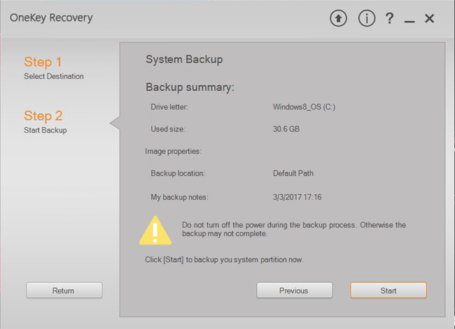 Check The Backup Summary on Lenovo OneKey revovery Windows 1087