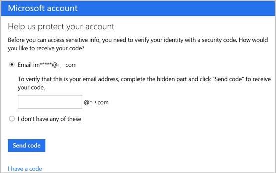 Wählen Sie eine Möglichkeit, den Bestätigungscode zum Ändern des Microsoft-Kontos zu erhalten