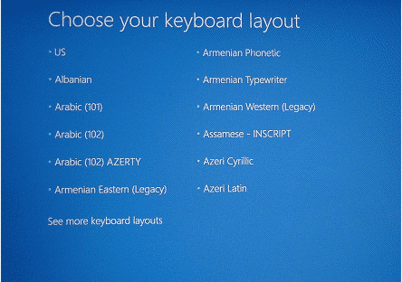 Choose Keyboard Layout to reformat Sony Vaio laptop to factory settings