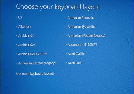 Wählen Sie Tastaturlayout, um den Sony Vaio-Laptop auf die Werkseinstellungen umzuformatieren