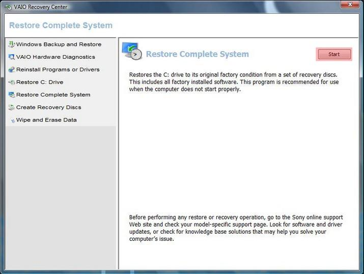 Choose Restore Complete System to format Sony Vaio laptop