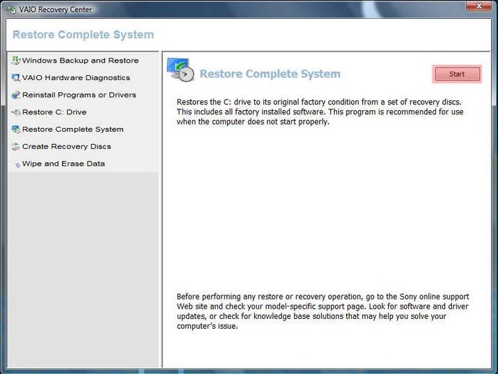 Wählen Sie Restore Complete System, um den Sony Vaio-Laptop zu formatieren