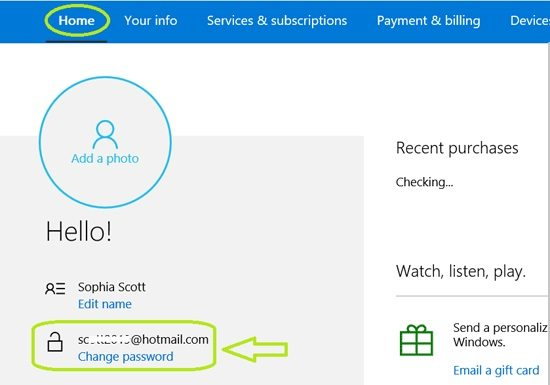 choose to change the password on Microsoft account online