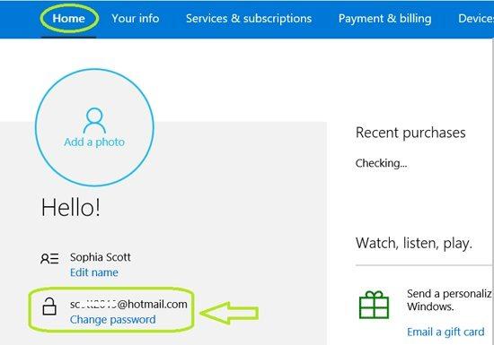 Wählen Sie diese Option, um das Kennwort für das Microsoft-Konto online zu ändern