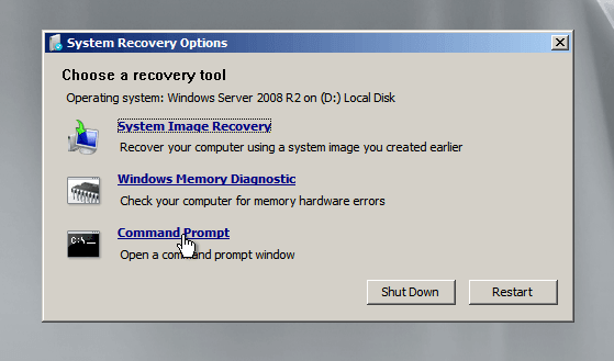 Click Command Prompt from the System Recovery Options