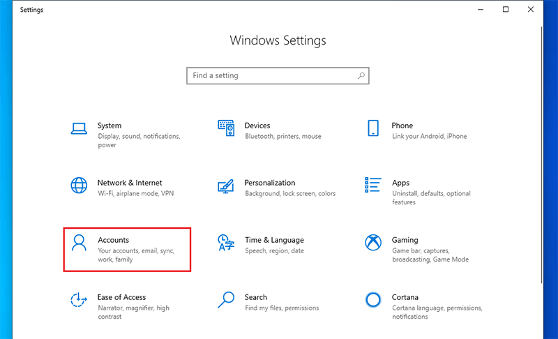 Click on Accounts to set win 10 login without password