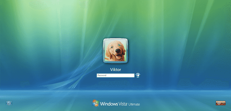 Click the button at the bottom-left corner to reset Vista password