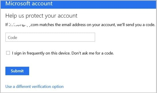 enter code to reset Microsoft password if forgotton