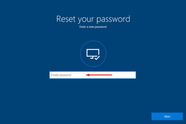 tapez un nouveau mot de passe puis connectez-vous pour réinitialiser le mot de passe de la surface