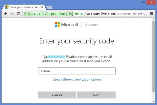 enter security code to change Microsoft account password