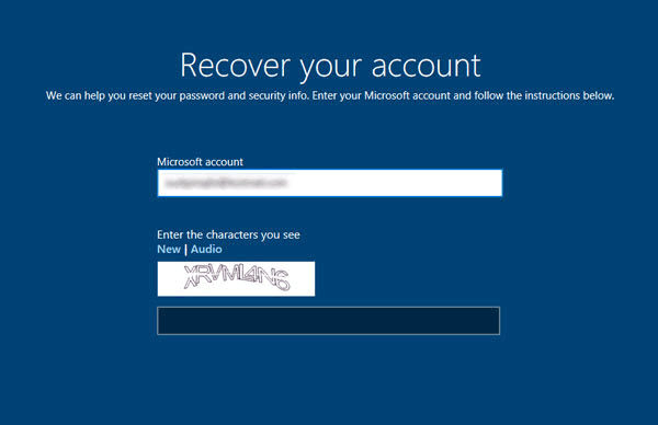 Enter your Microsoft Account to reset surface password