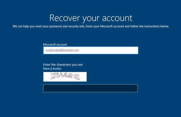 Tapez votre identifiant de compte Microsoft pour réinitialiser le mot de passe de la surface