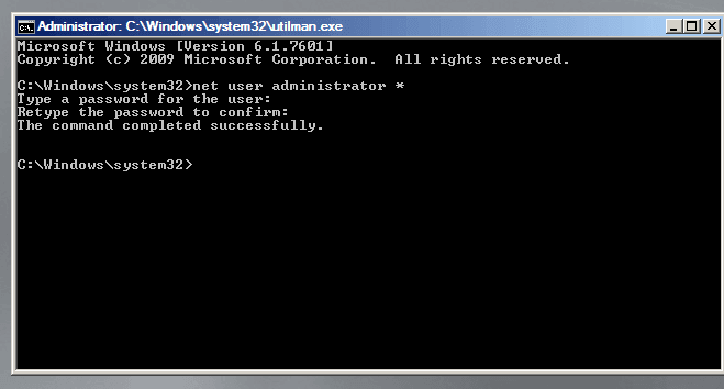 entering a new password for the Windows server 2008 r2 Administrator account